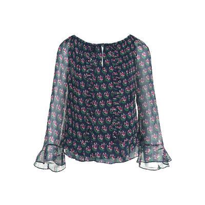 ruffle detail flower pattern sheer blouse
